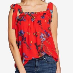 CeCe red floral tie tank